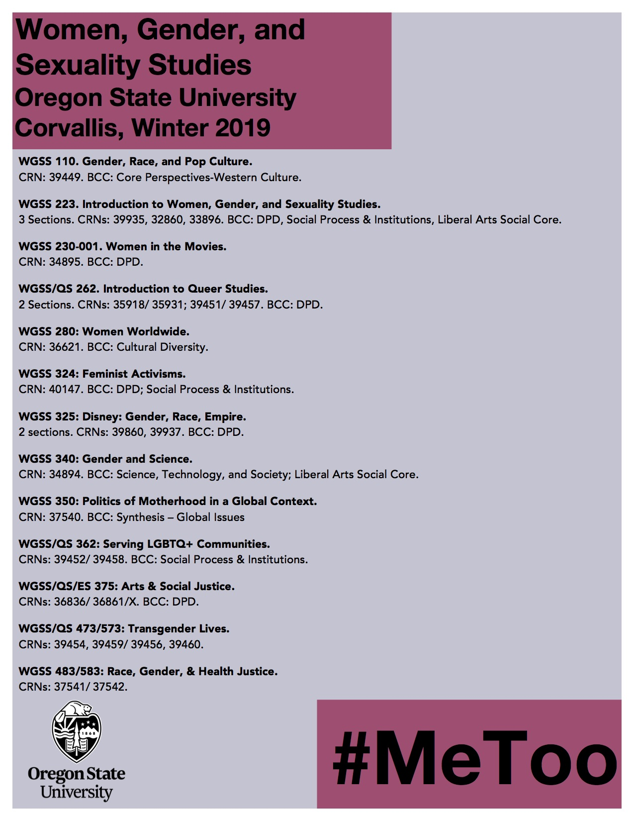 wgss winter courses 2019