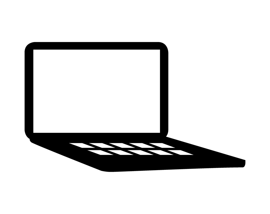 Black and white image of an open laptop